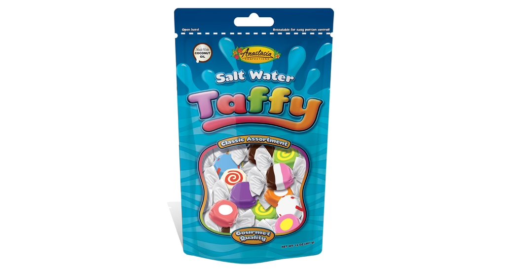 Salt Water Taffy, Regular Assortment, Resealable, Stand-Up Pouch 14 oz. - Florida Orange World