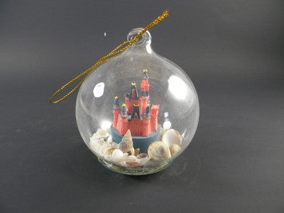Castle Design-Sand and Shell Globe Ornament 80mm - Florida Orange World