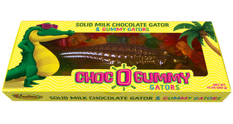 Choc-O-Gator surrounded by little gummy gators 10 oz. - Florida Orange World