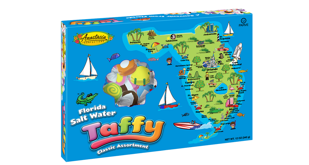 Florida Map Salt Water Taffy Assorted Box 12 oz. - Florida Orange World