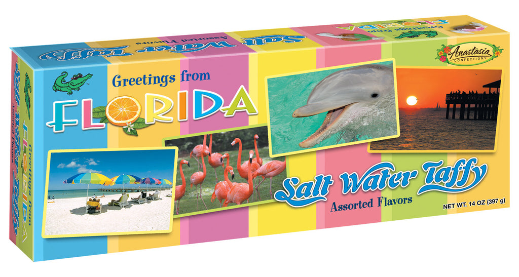Salt Water Taffy, Florida Postcard Assorted box 14 oz. - Florida Orange World