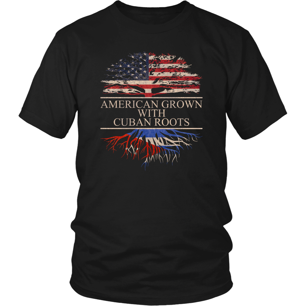 American Grown with Cuban Roots Flag of Cuba T-Shirt