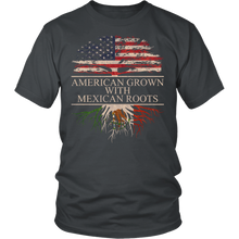 Load image into Gallery viewer, American Grown with Mexican Roots Mexico Pride T-Shirt
