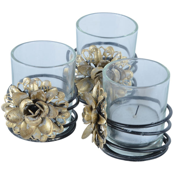 Magnifico Gold and Glass Votive Holder