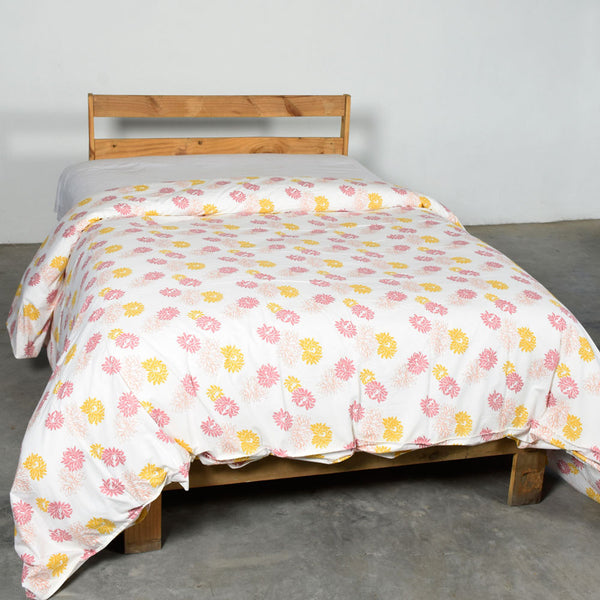 Tri Flower Cotton Duvet