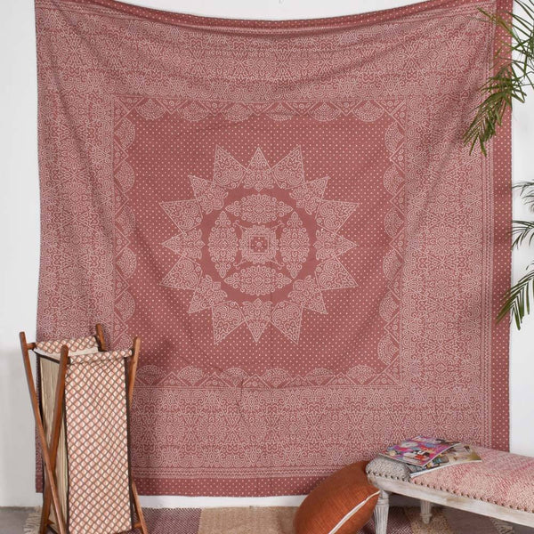 Brown and White Conical Wheel Tapestry
