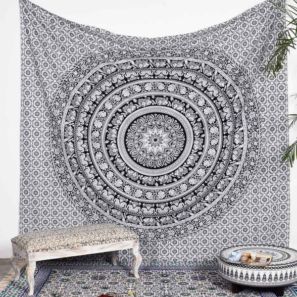 Black and White Deco Square Tapestry
