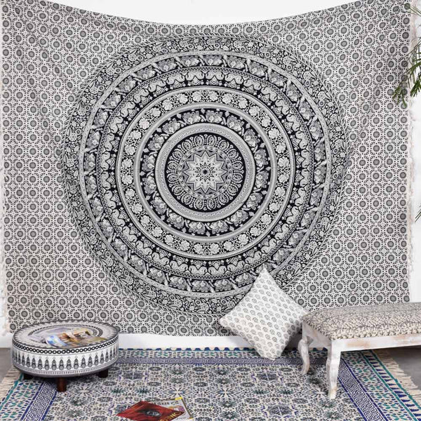 Black and off White Deco Square Tapestry