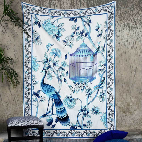 White and Blue Digital Print Tapestry