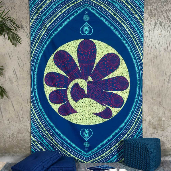 Floral Peacock Tapestry