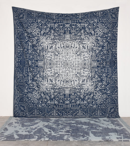 Blue Colored Cotton Made Tapestry