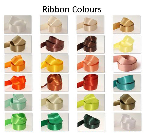 10mm Double Sided Satin Personalised Ribbon - Whites, Creams, Yellows, Golds, Greens and Browns