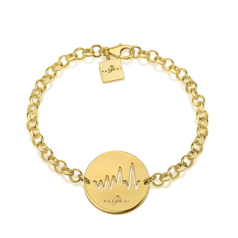 Moonlight Pulse bracelet, Sterling silver, Yellow Gold plating, ROLO chain
