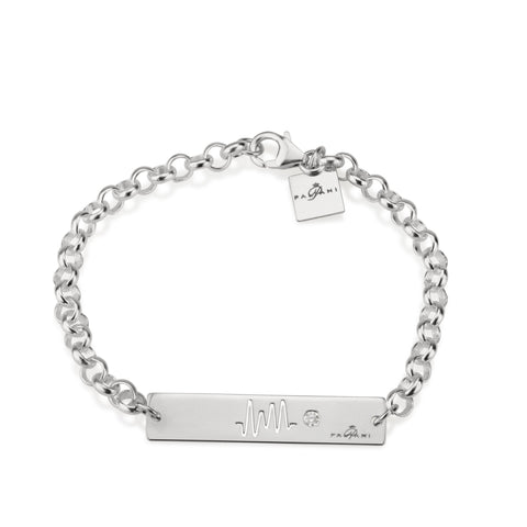 Horizon Pulse bracelet, Sterling silver, Rhodium plating, ROLO chain, White Zircon, White Crystal