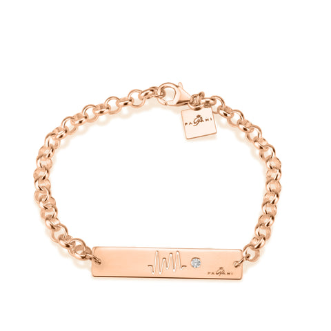 Horizon Pulse bracelet, Sterling silver, Rose Gold plating, ROLO chain, White Zircon, White Crystal