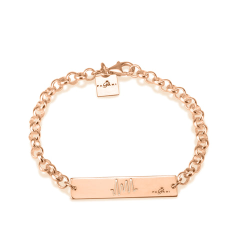 Horizon Pulse bracelet, Sterling silver, Rose Gold plating, ROLO chain