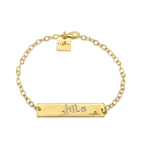 Horizon Pulse bracelet, Yellow Gold, 14K, ROLO chain, White Zircon, White Crystal