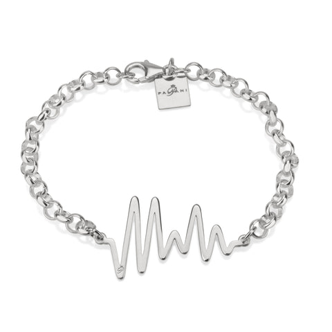 Ocean Pulse bracelet, Sterling silver, Rhodium plating, ROLO chain