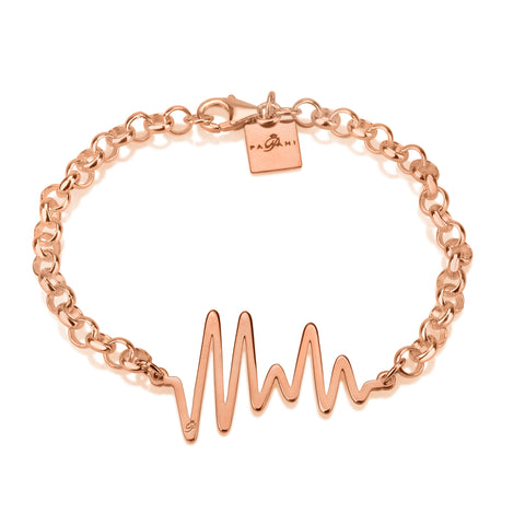 Ocean Pulse bracelet, Sterling silver, Rose Gold plating, ROLO chain