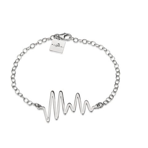 Ocean Pulse bracelet, White gold, 14K, ROLO chain