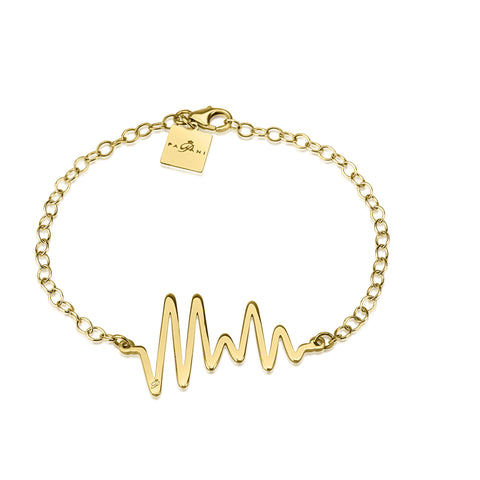 Ocean Pulse bracelet, Yellow Gold, 14K, ROLO chain
