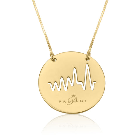 Moonlight Beat necklace, Sterling silver, Yellow Gold plating, ROLO chain