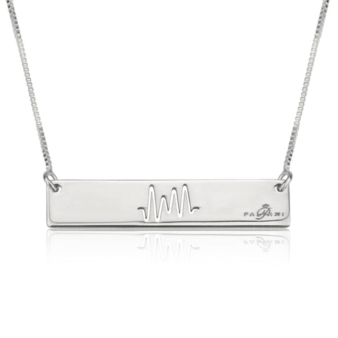 Horizon Beat necklace, Sterling silver, Rhodium plating, ROLO chain