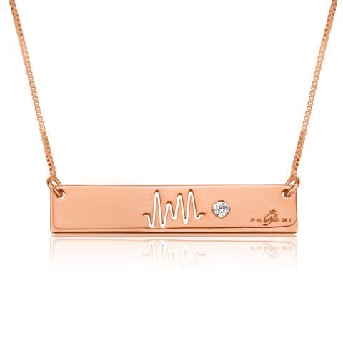 Horizon necklace, Sterling silver, Rose Gold plating, ROLO chain, White Zircon, White Crystal