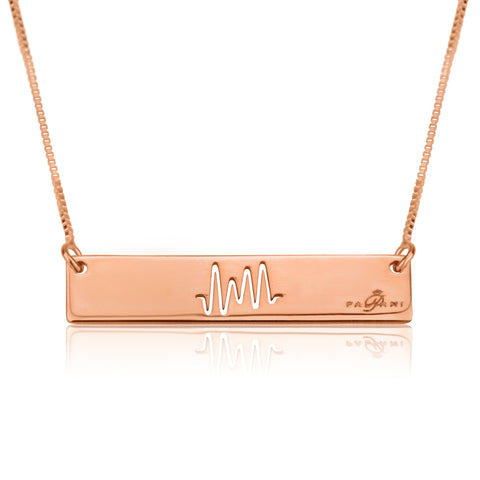 Horizon Beat necklace, Sterling silver, Rose Gold plating, ROLO chain