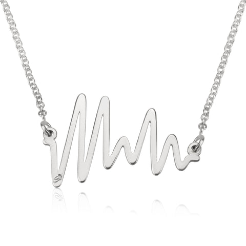 Ocean Beat necklace, Sterling silver, Rhodium plating, ROLO chain