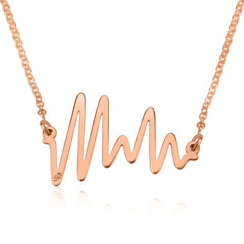 Ocean Beat necklace, Sterling silver, Rose Gold plating, ROLO chain