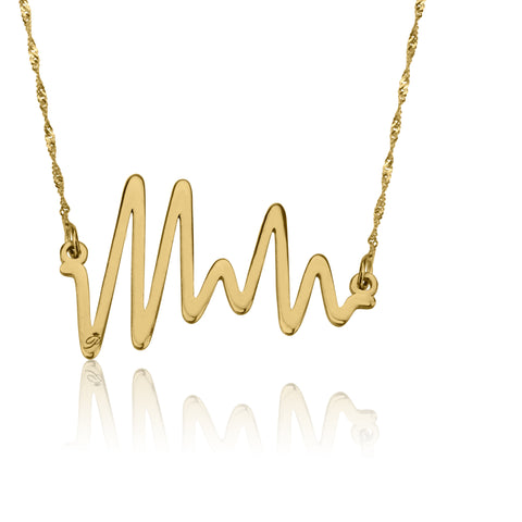 Ocean Beat necklace, White gold, 14K, Twist chain