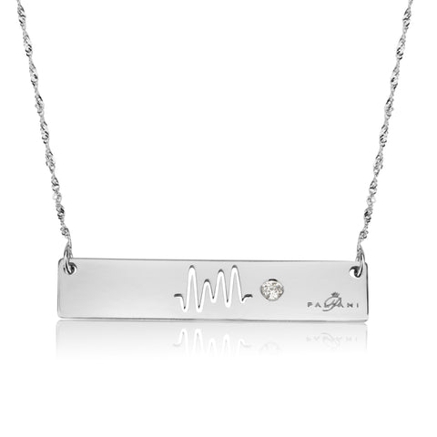 Horizon necklace, White gold, 14K, Twist chain, White Zircon, White Crystal