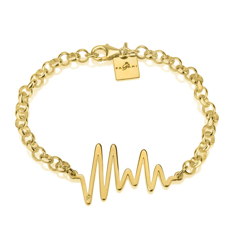 Ocean Pulse bracelet, Sterling silver, Yeloow Gold plating, ROLO chain