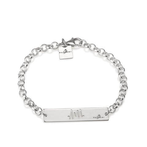 Horizon Pulse bracelet, Sterling silver, Rhodium plating, ROLO chain