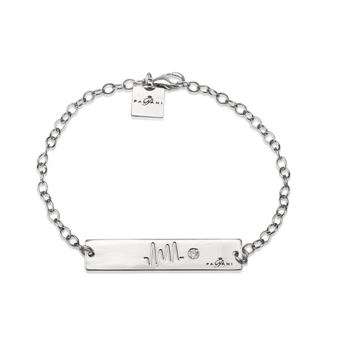 Horizon Pulse bracelet, White Gold, 14K, ROLO chain, White Zircon, White Crystal