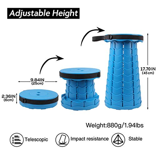 Retractable Adjustable Seat Stool Lightweight for Picnics Camping Fishing Hiking BBQ and More