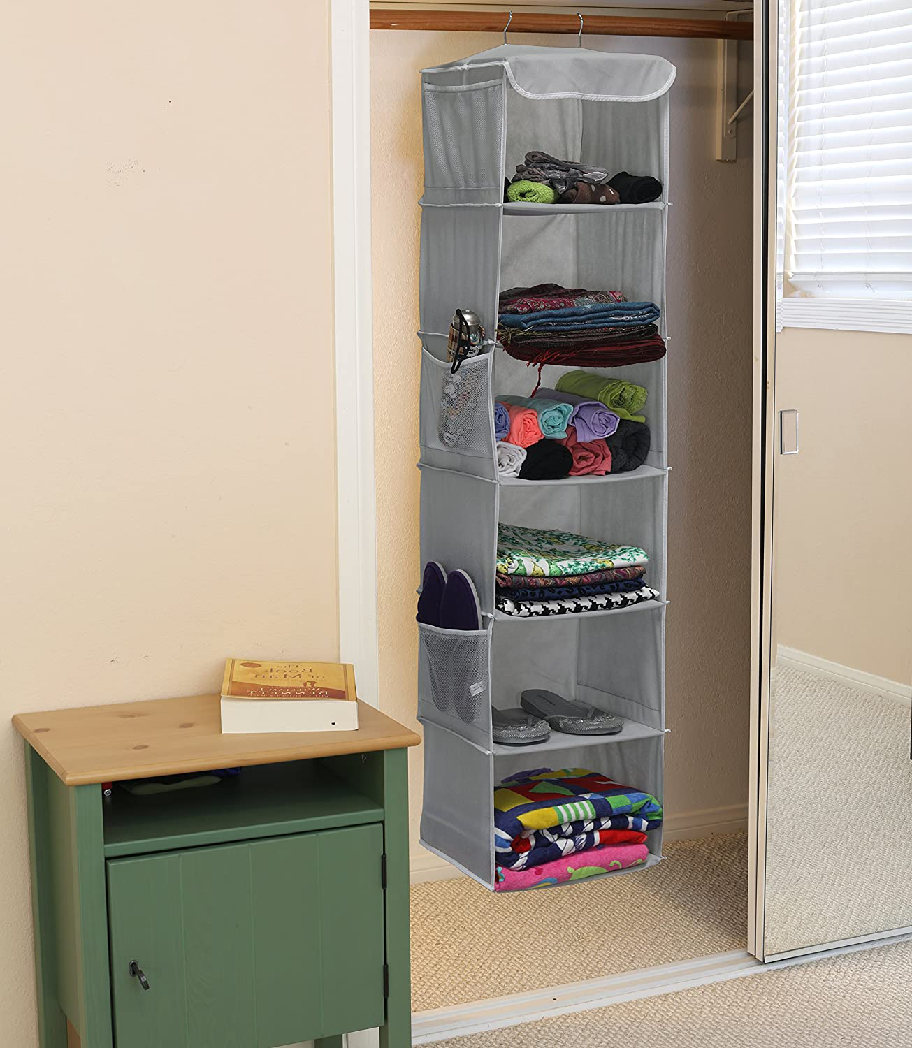 Simple Houseware 6 Shelves Hanging Closet Organizer, Gray