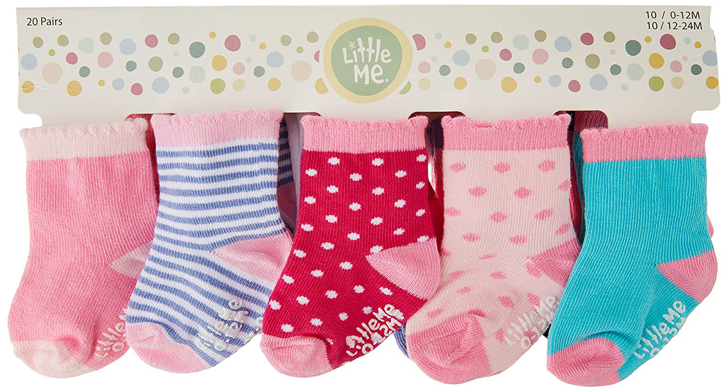 Little Me 20-Pack Newborn Baby Infant & Toddler Girls Socks, 0-12/12-24 Months, Assorted Size Pack, Multi