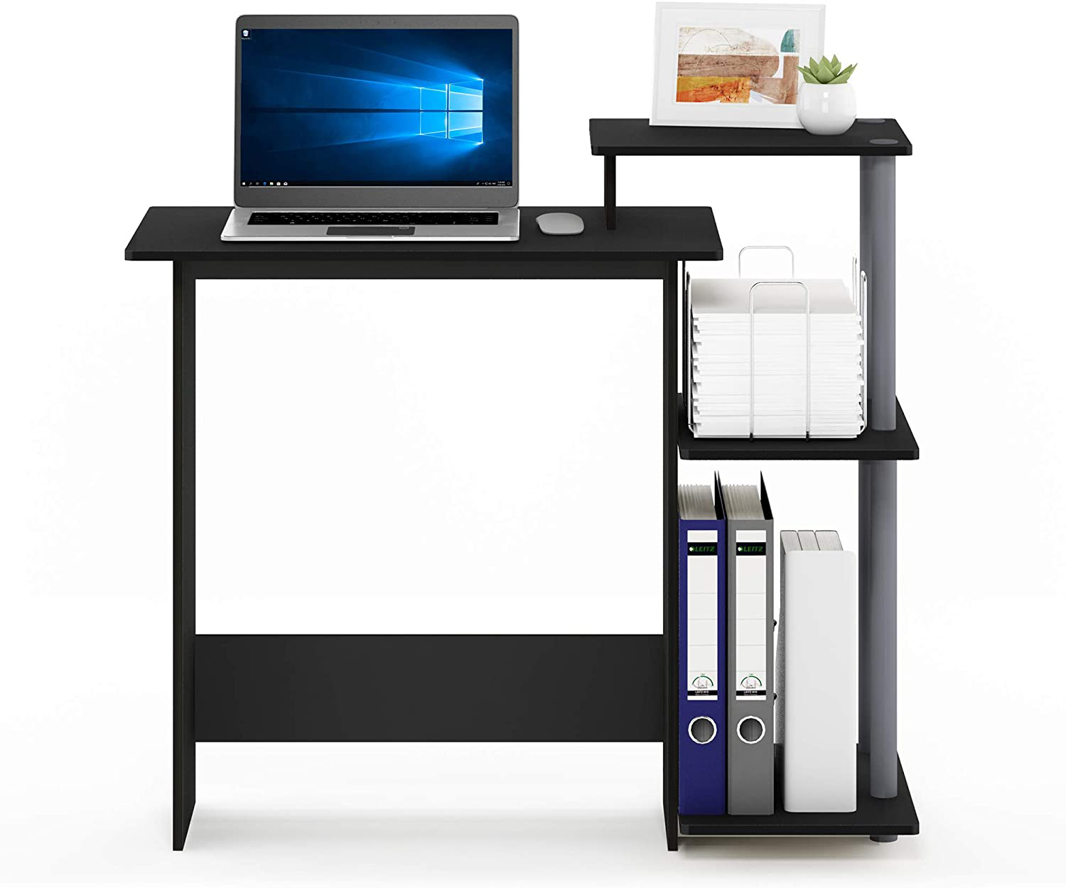 FURINNO Efficient Home Laptop Notebook Computer Desk, Square Side Shelves, Black/Grey