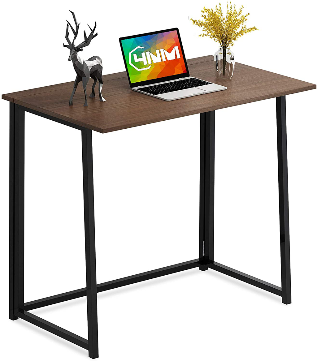 "4NM 31.5"" Small Desk No-Assembly Folding Computer Desk Home Office Desk Study Writing Table for Small Space Offices - Brown and Black"
