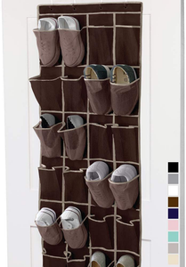 Gorilla Grip Premium Over The Door Mesh Pocket Shoe Organizer, 24 Large Breathable Durable Pockets, 64x19, Hooks, Stores Shoes, Home Storage Organizers Hang on Closet Doors, Organize Sneakers, Gray