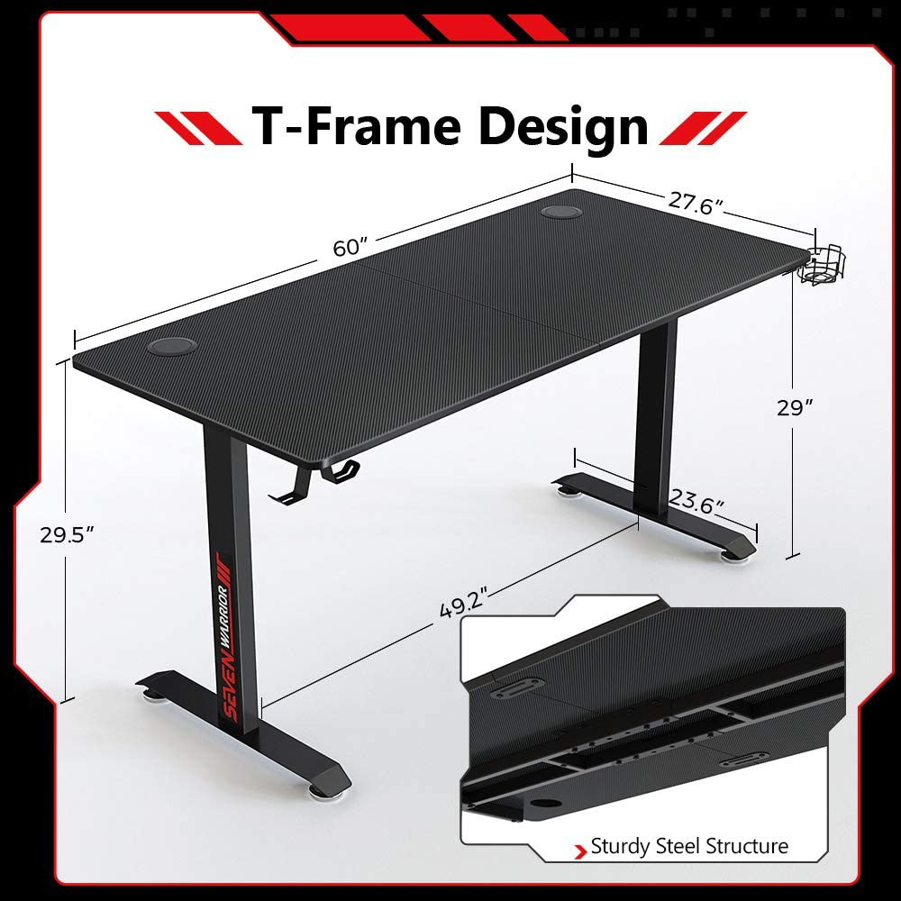 Seven Warrior Gaming Desk 60 INCH, T- Shaped Carbon Fiber Surface Computer Desk with Full Desk Mouse Pad, Ergonomic E-Sport Style Gamer Desk with Double Headphone Hook, USB Gaming Rack, Cup Holder