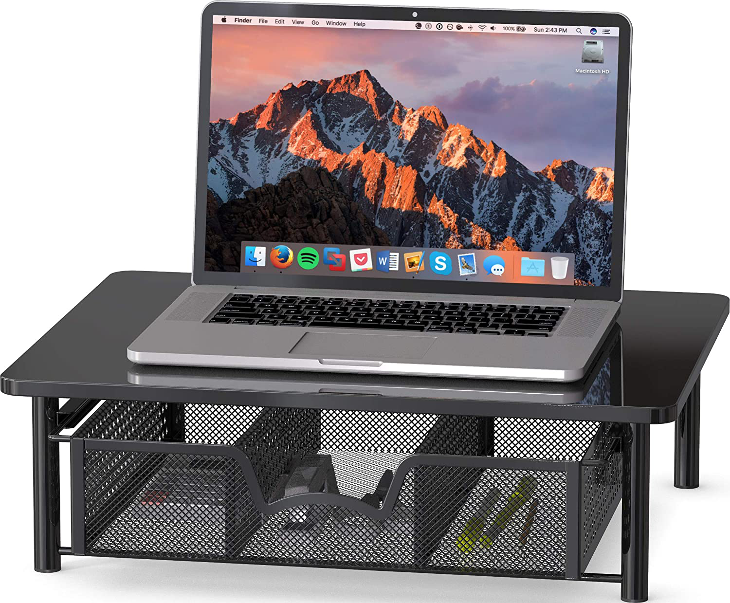 Simple Houseware Computer Monitor Riser with Drawer, Black
