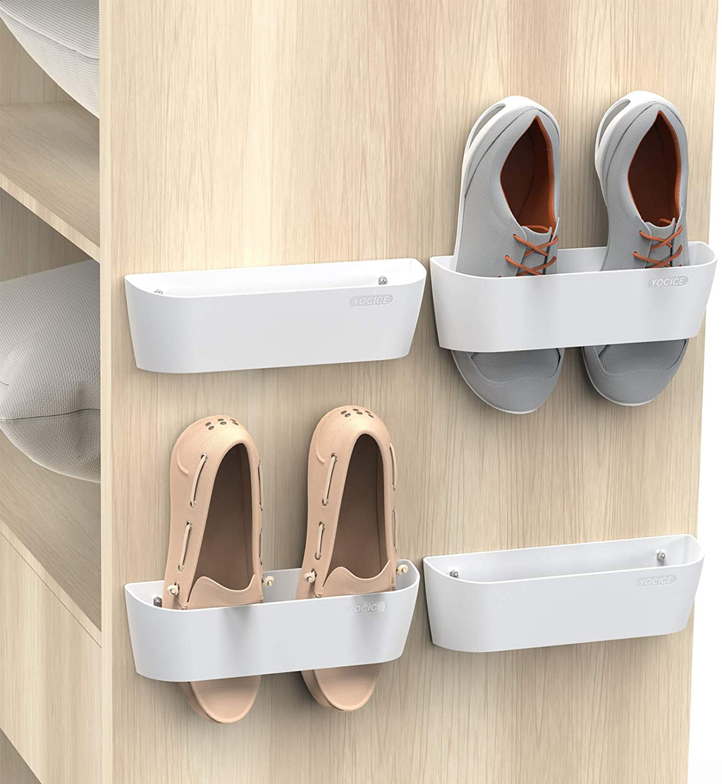 Yocice Wall Mounted Shoes Rack with Sticky Hanging Strips, Plastic Shoes Holder Storage Organizer,Door Shoe Hangers (SM03-White-4)