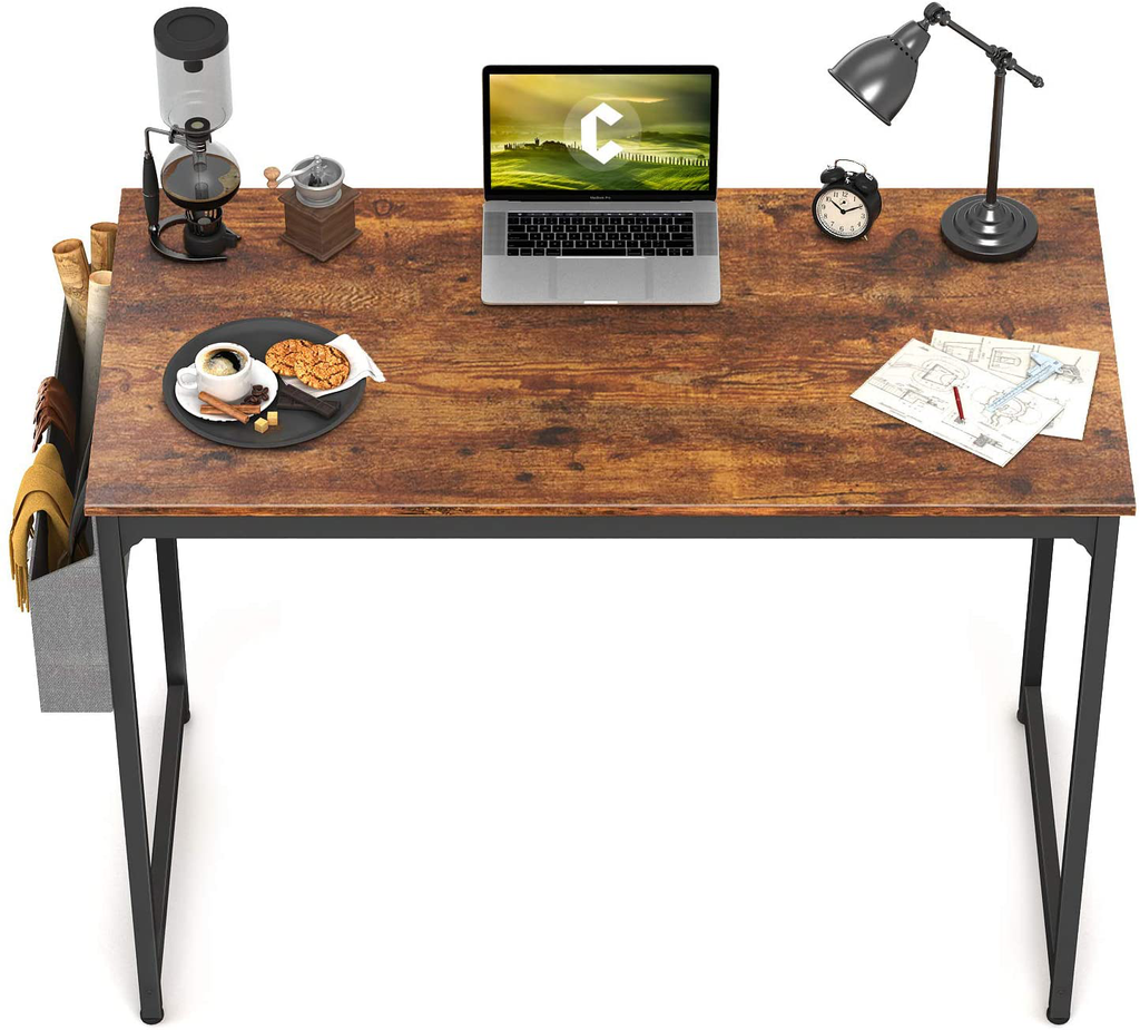 "CubiCubi Study Computer Desk 32"" Home Office Writing Small Desk, Modern Simple Style PC Table, Black Metal Frame, Rustic Brown"