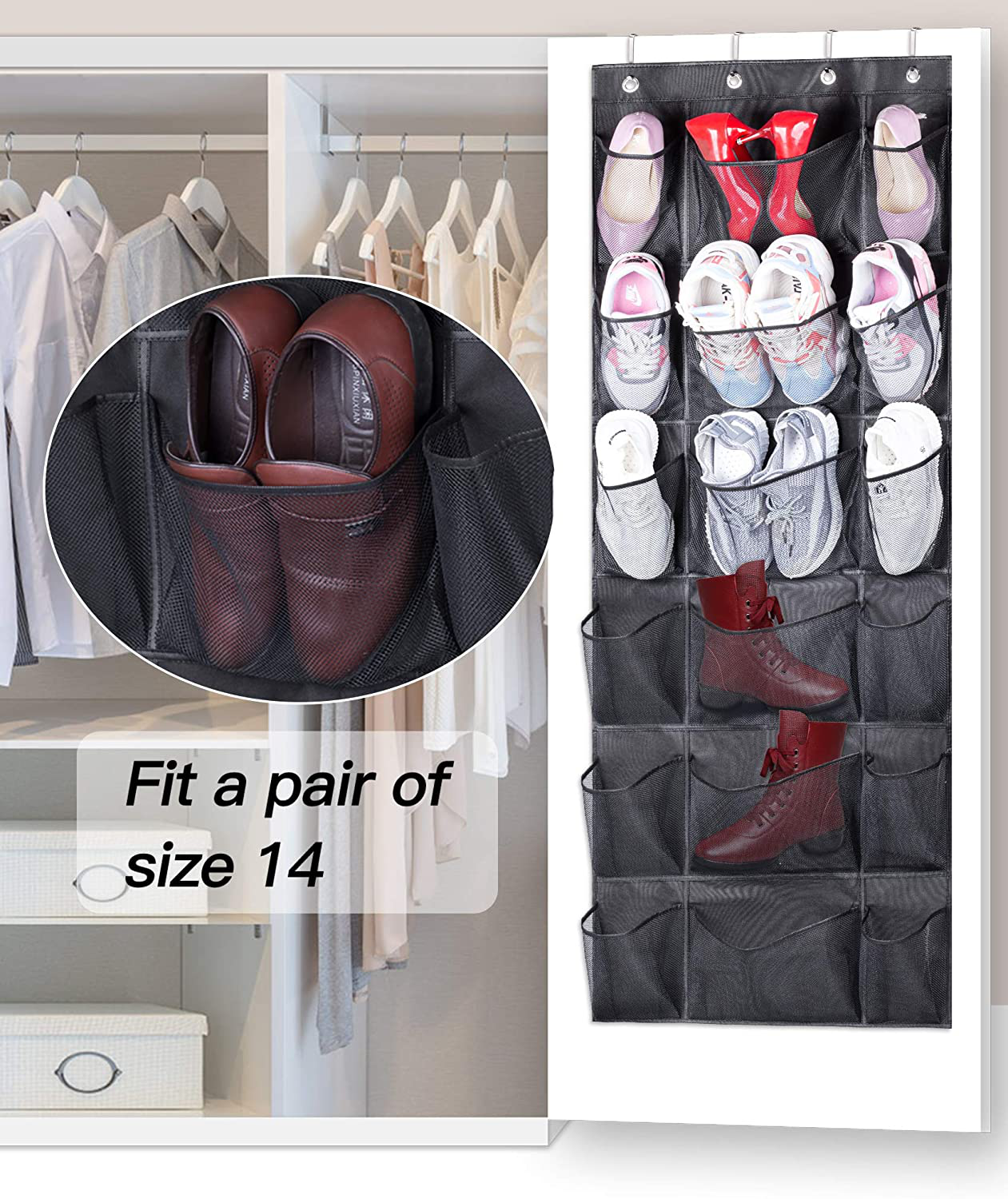 KEETDY Over The Door Shoe Rack Organizer 18 Pockets Hanging Shoe Organizer with 6 Extra Large Mesh Storage Pockets for Closet Shoe Holder,Black
