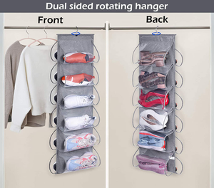 KEETDY 12 Large Clear Pockets Hanging Shoe Organizer Fabric Dual Sided Shoe Holder Rack for Closet Shelves with Roating Hanger for Storage Mens Shoes, Women Handbags, Kids Clothing, Grey