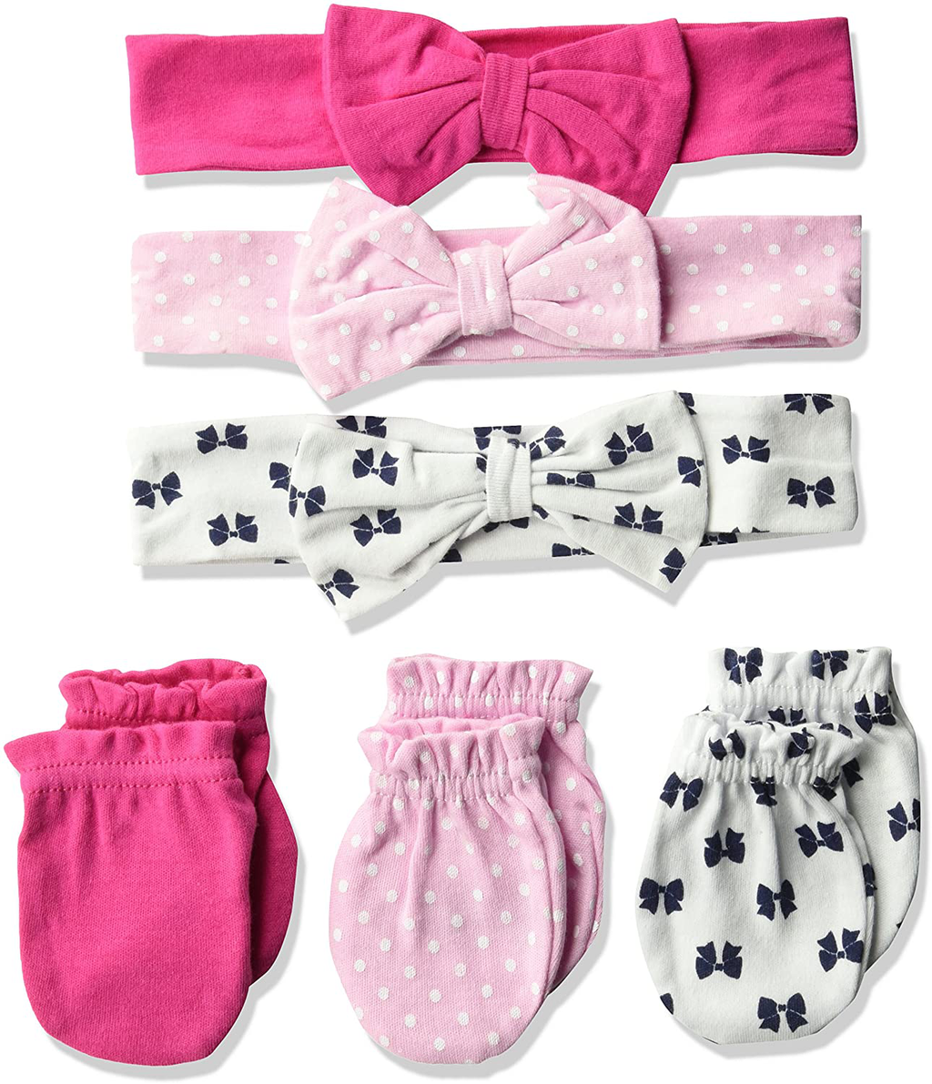 Hudson Baby Unisex Cotton Headband and Scratch Mitten Set