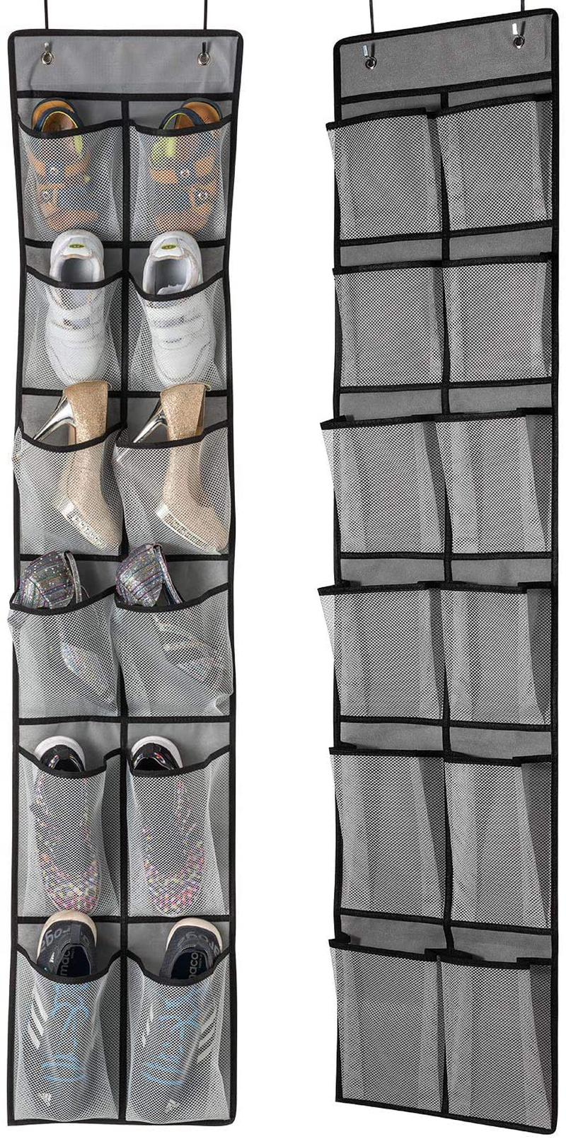 KEEPJOY Over The Door Shoe Organizer 2 Pack,Mesh Pockets Hanging Shoe Rack Over The Door,Shoe Storage Closet with 4 Hooks,Washable and Breathable Fabic,Large Size 57.5×12.6inch(Grey)